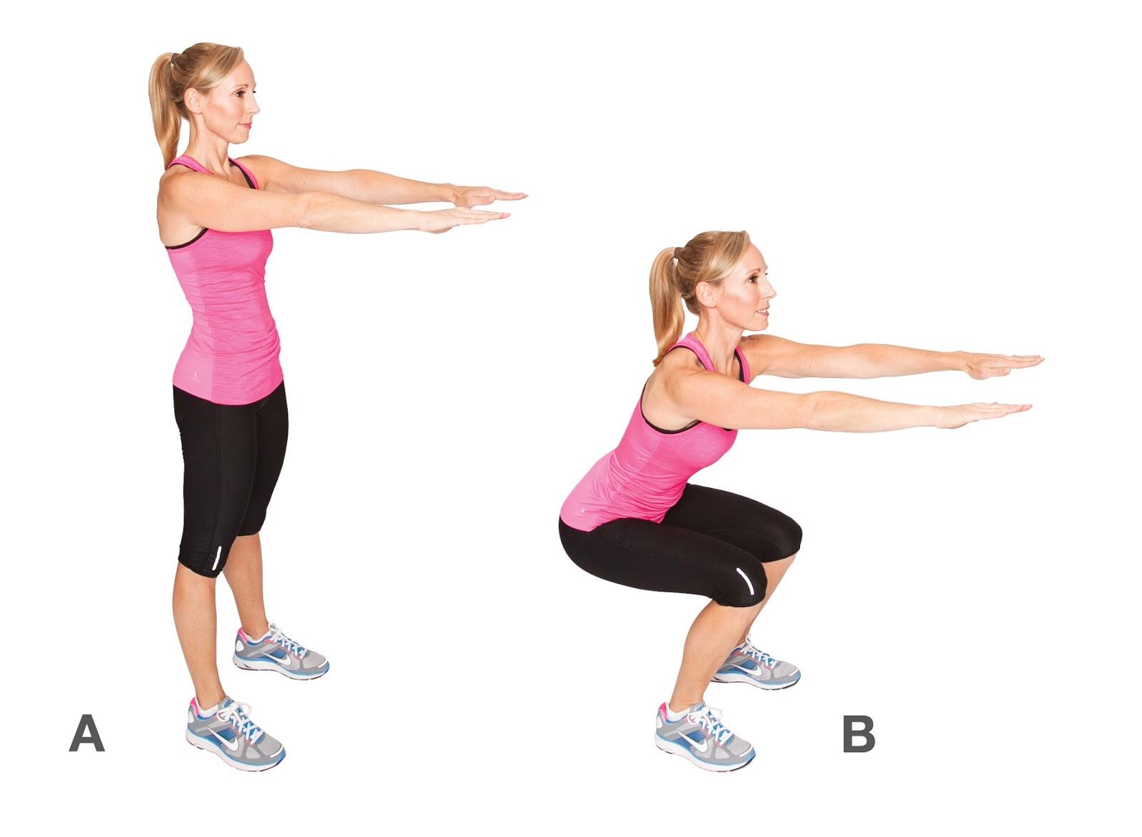 Приседания позволяют нагрузить мышцы задней части ноги