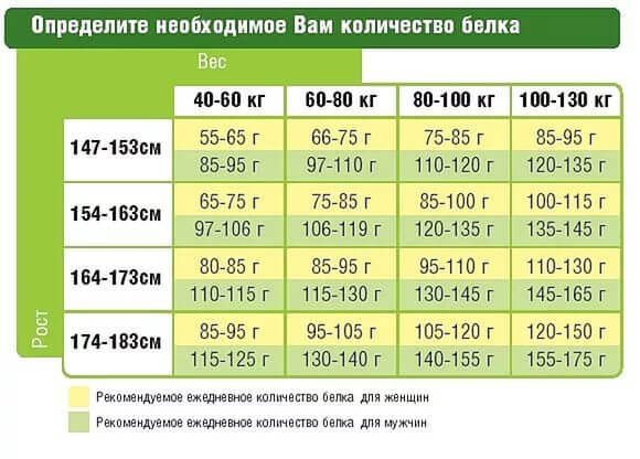 Таблица для определения необходимого количества белка по росту и весу