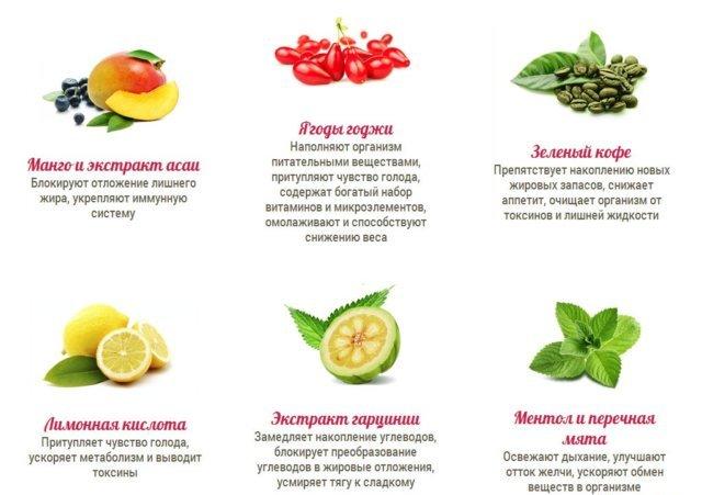 Итак, все эти компоненты производители добавили в Fito-spray! Спрей для похудения, помимо этих волшебных ингредиентов, также содержит манго, ментол и перечную мяту, лимонную кислоту