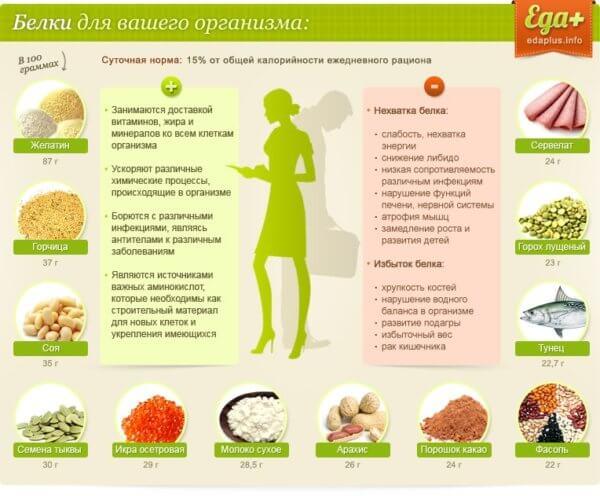 Сколько белков в продуктах питания
